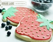 Large Strawberry Decorated Sugar Cookies - Fruit Edibles - SugarLaneBakeShop