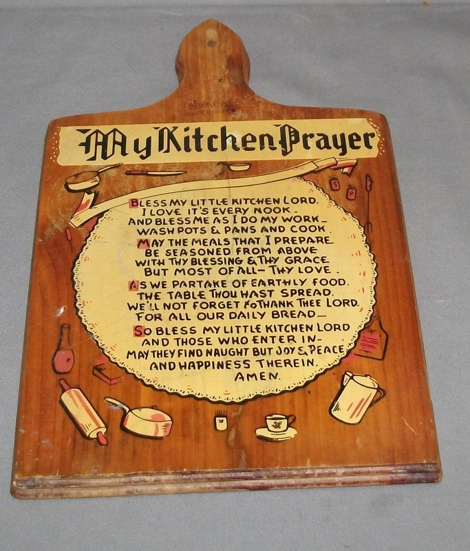 Vintage My Kitchen Prayer Wood Wall Plaque 10 by mustardjo on Etsy