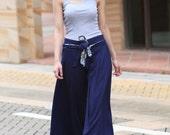Wide Leg Pants in Purplish Blue Boho Skirt Pants - NC043 - Sophiaclothing
