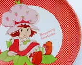 Vintage Strawberry Shortcake Metal Tray, Large 1980 CHEINO Red & White Polka Dot - vintageeclecticity