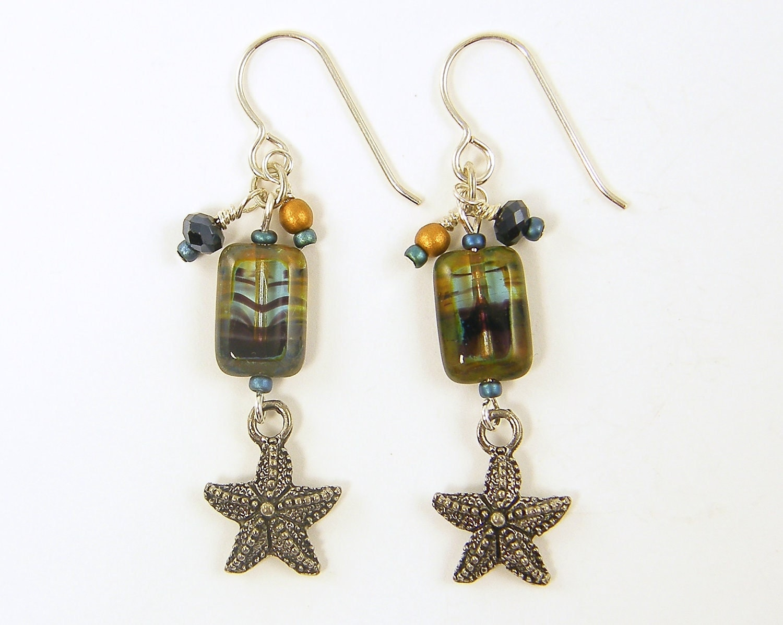 Starfish Earrings on Starfish Earrings   Aqua Bronze Blue Silver Nautical Beach Sea Life