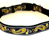 "Paisley Dog Collar -  Navy Blue & Gold Paisley -  Size Large (15-24"") SHIPPING INCLUDED - DaisyDog13"