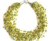 Lemon yellow lime onyx crochet airy necklace with gemstone and yellow-green seed beads boho style - JVglass