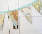 Vintage World Map Bunting Banner, a repurposed vintage atlas garland, photography prop - decorandcrafts