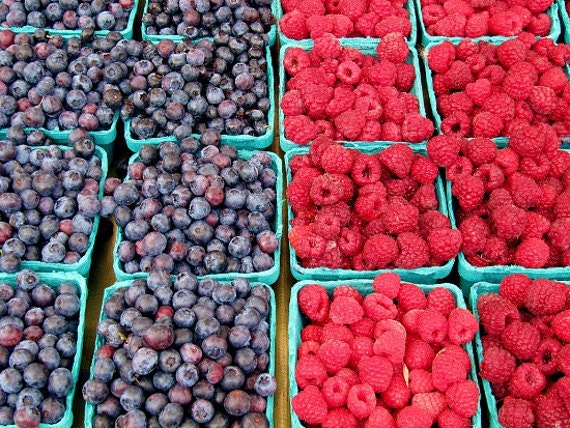Bluberries and Raspberries  - 8x10 fine art photography print -kitchen decor - farmers market - food photo