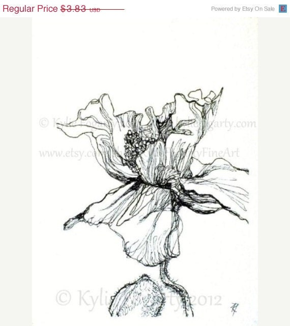Black and White Flower Drawing - ACEO - Fine Art Print - Poppy Flower Study 3 - Wedding Thankyou - Christmas in July