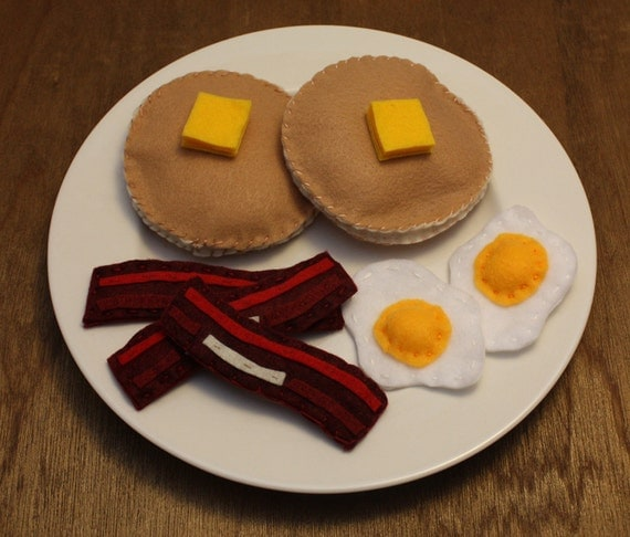 Felt Play Food - Pancakes, Bacon and Eggs