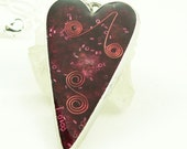 Orgone Energy Pendant - Large Antiqued Silver Heart - Red with Garnet Gemstone - Orgonite - Artisan Jewelry - LKSoriginals