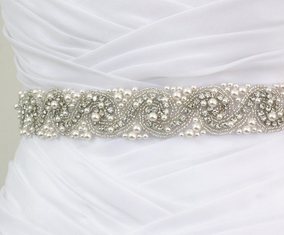 Best Seller - LAURA - Bridal Crystal Rhinestone And Pearls Sash, Rhinestone Bridal Belt, Wedding Beaded Sash, Rhinestone Wedding Belts