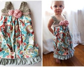 Upcycled Children's Dress Organic Cotton Crochet Top Boho Maxi Dress Ruffle Bottom One of Kind Spring Colors Pattern SALE - KingSoleil