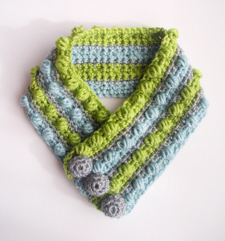 Childrens Crochet Scarf Gumdrops Wool Bamboo Unisex Striped Neck  Crochet Childrens Scarf