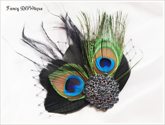 Art Deco 1920 Proms Party Ball Races Vintage Bridesmaid Head Piece Royal Blue Peacock Hair Clip Peacock Feather Fascinator--Loretta