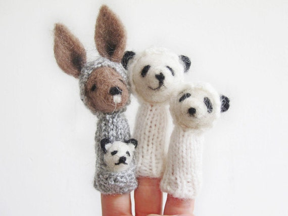 FINGER PUPPET MOBILE / Wall Hanging,  Needle-Felted Kangaroo & Panda Family, Nursery or Home Decor and Soft Toy for a baby or a child