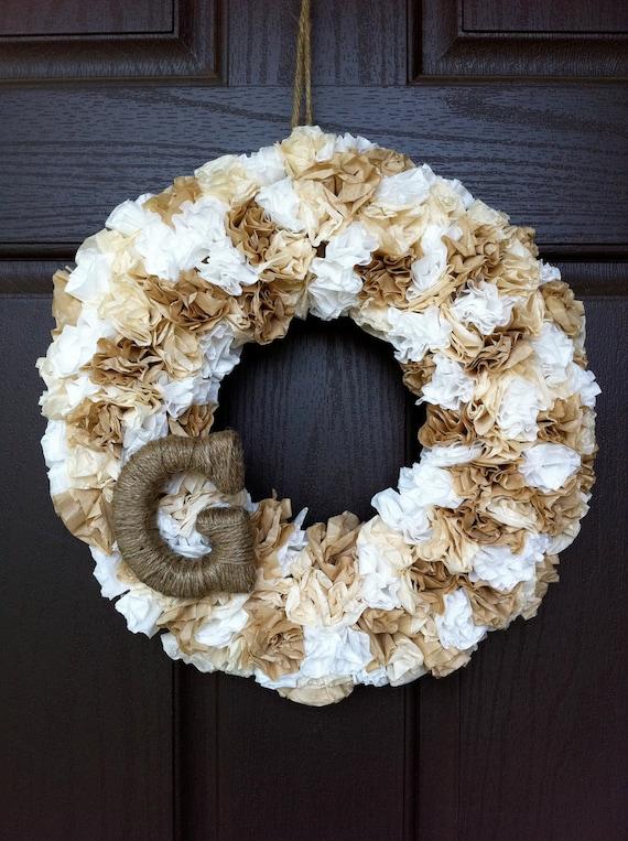Monogram Shabby Chic Wreath