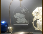 Christmas Ornament Little lamb of god. Hand engraved glass holiday decoration - GlassGoddessNgraving