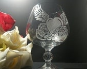 brandy glass , heart with wings and roses tattoo style - GlassGoddessNgraving