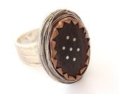 Unusual Ring  - Whirling Dervishes Ceremony -  Sterling Silver -  Ebony Wood - Adjustable - Ready to Ship - serpilguneysudesigns