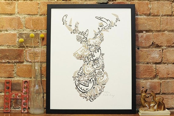 In the Woods - Stag Deer Head poster print art
