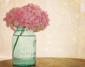 Pink Hydrangea 8x10 Fine Art Photography Shabby Chic Romantic Feminine Aqua Blue Ball Mason Jar Home Decor Wall Art