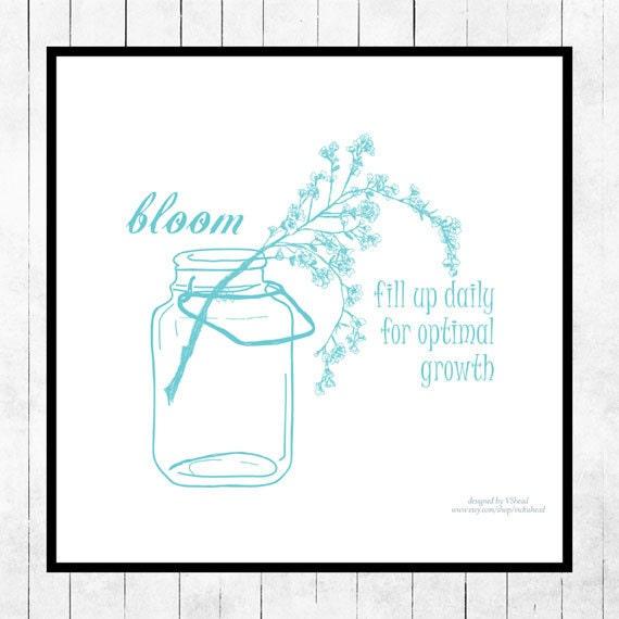 Spring Art Print Poster Ball Jar Floral Robins Egg Blue Bloom