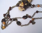 Long Autumn Colors Necklace - Red, Maroon, Mustard Yellow and Black Bead Necklace on Long Chain - ChathamsCrossing