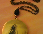 Art Locket Necklace-Witch Girl Scary Stories Inspired-h167 - SteereFarmDesigns