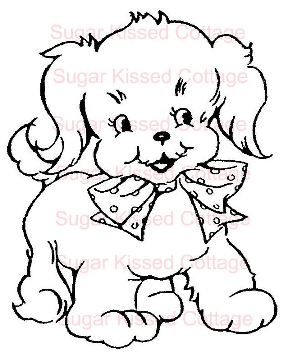 Sugar Kissed Cottage, Puppy, Vintage, digital stamp