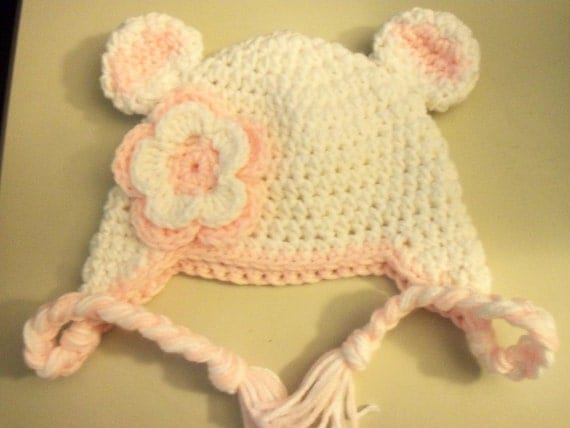 Baby Crochet Beanie Earlap Hat In White And Baby Pink