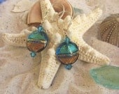 Aqua and Brown Murano Disc Earrings, Summer Colors, Simple Ocean and Sand Feel on Sterling Leverbacks - JemsbyJoan