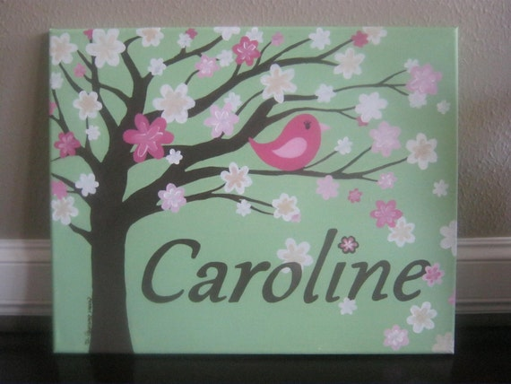 Nursery painting, personalized canvas for girl's room - tree, cherry blossom, bird