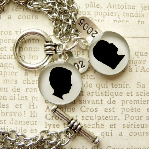 Custom Silhouette Charm Bracelet with 2 Medium Sterling Charms and Sterling Heart Date Tags