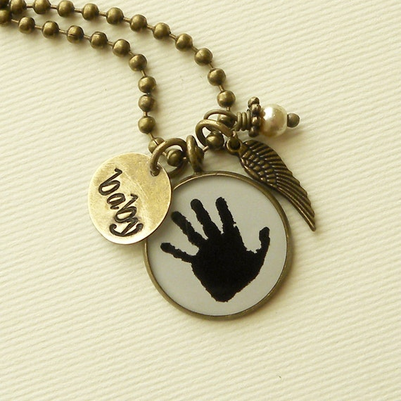Angel Baby Handprint Memory Necklace with Wing Charm, stamped tag and Pearl Dangle for Mother