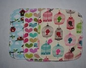Set of six cotton sherpa and flannel diaper wipes
