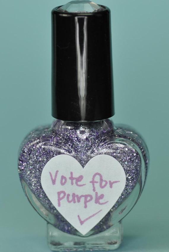 Vote For Purple Lavender and Silver Glitter Nail Polish 5ml Mini Bottle