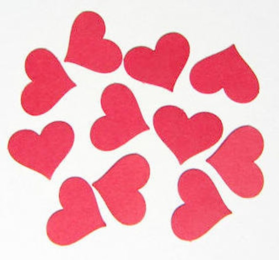 Red Paper Hearts - Die Cuts, Confetti, Wedding, Party Decorations - FREE SHIPPING