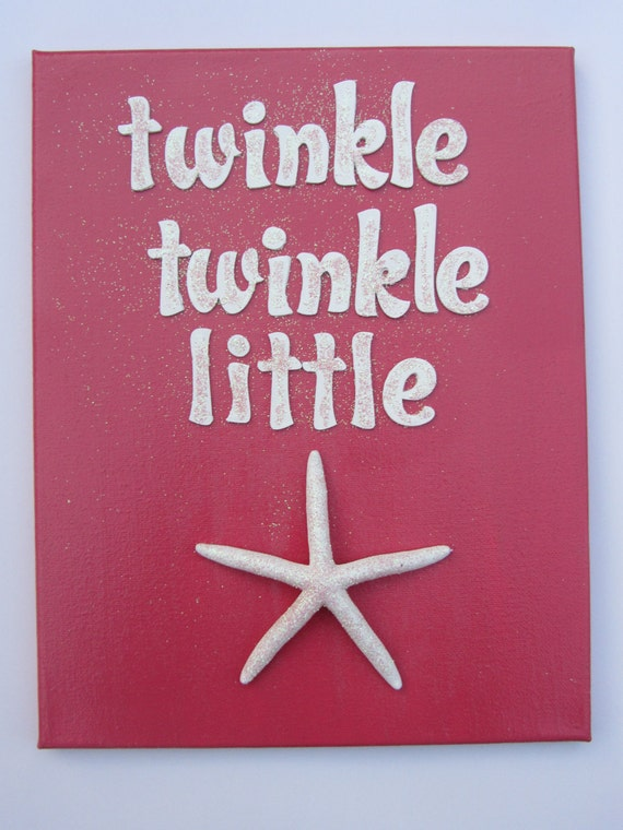 Beach Nursery Art - Pink - Starfish Canvas - Twinkle Twinkle Little Star