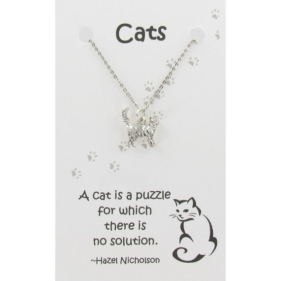 CAT Pewter Necklace on Gift Card with Quote