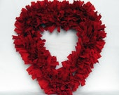Rustic Rag Wreath Love Heart Blood Red Rustic Wedding Decor Shabby Chic Room Decor gift under 25 30 50