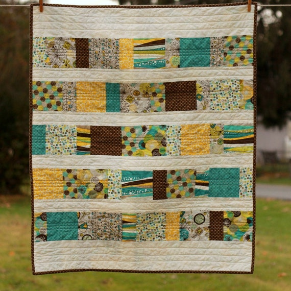 baby quilt.  studio e brook fabrics.  gender neutral.