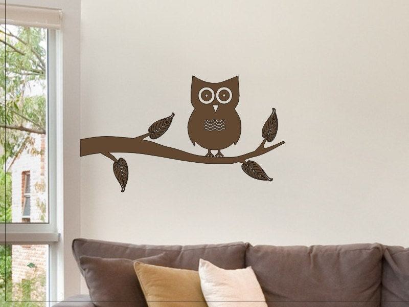 Owl on a Tree Branch Wall Sticker Decal Nice Wall by vgwalldecals
