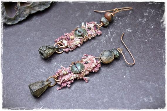 Finding. OOAK rustic tribal assemblage earrings.
