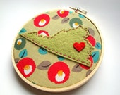 Virginia hand embroidery hoop art virginia richmond wall art state