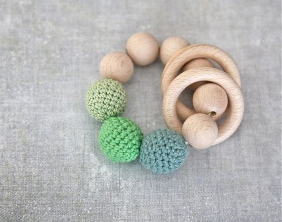 Teething toy with crochet green mint light pale green by nihamaj