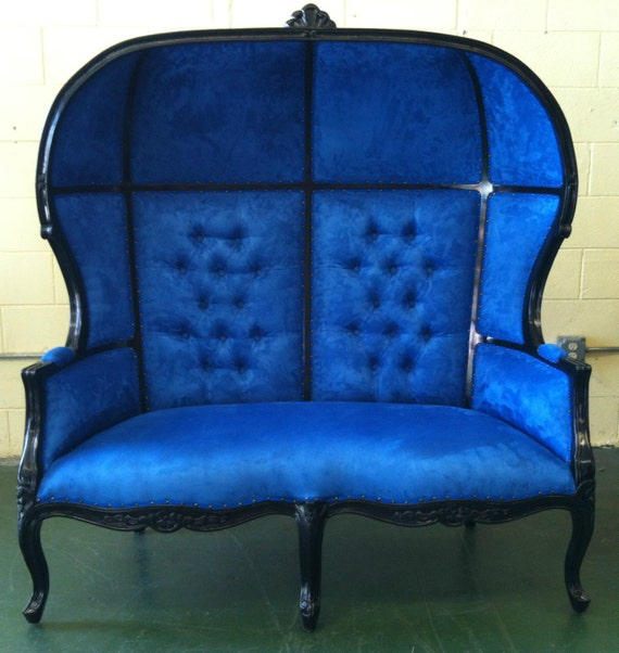 Black and Blue Porters Sofa Chair Domed Bonnet Throne King Chair Lunge