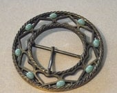 Large 70's Hippy BoHo Brass Round Belt Buckle with Hearts and Turquoise - calessabay