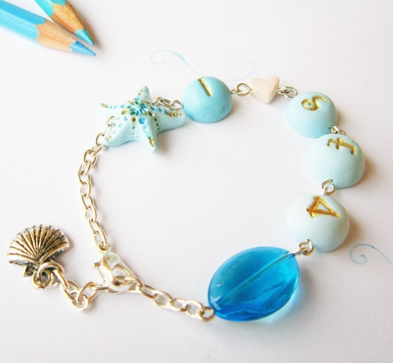 Mermaid bracelet, Sea Bracelet, Turquoise ombre, Words bracelet, I love sea, Turquoise  and gold, Starfish bracelet