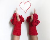 Fingerless Gloves by giZZdesign, red and crochet, Valentine's gift, Choose your color....Christmas Gift - giZZdesign