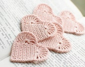 Set of 10 Crochet hearts applique Wedding decoration embellishment pale pink shabby chic - SvetlanaN