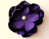 Lapis Purple Fabric Flower Hair Clip, Bridal Gift Wedding Bridesmaids, Satin Fabric Flowers, fall Autumn, Pearl Petals