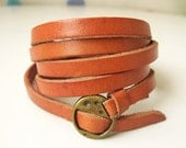 Elegant & Chic Orange Leather Wrap Bracelet With Copper Buckle-Autumn - ACuteCute